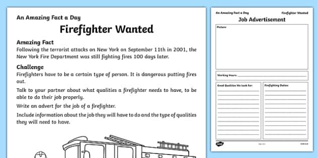 Firefighter Wanted Activity Sheet, worksheet