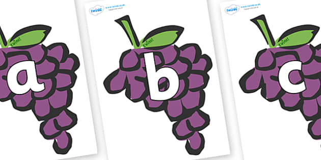Phoneme Set on Grapes - Phoneme set, phonemes, phoneme, Letters and Sounds, DfES, display, Phase 1, Phase 2, Phase 3, Phase 5, Foundation, Literacy