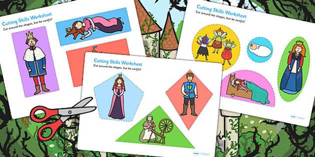 Sleeping Beauty Cutting Skills Worksheet - motor skills, cutting