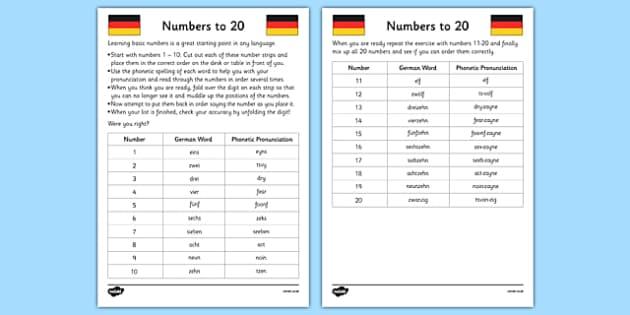 Numbers to 20 in German Activity Sheet - german, German worksheet, numbers to 20, activity