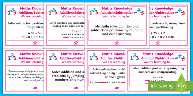 Addition and Subtraction Stage 7 WALT Display Posters - WALT cards for NZ Mathematics, Stage 7 Maths, Stage 7 Numeracy, NZ Maths, Numeracy Project, New Zeal
