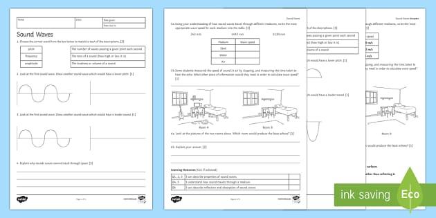 Sound Waves Homework Activity Sheet Homework worksheet – Sound Waves Worksheet