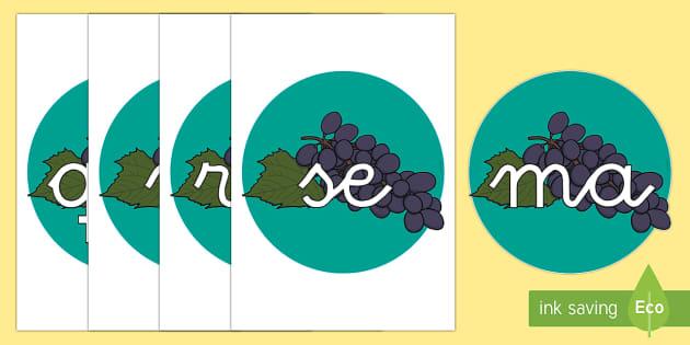 Tarjetas de sílabas: Uvas - lecto, leer, primeros sonidos