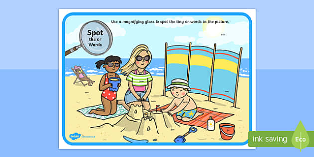 Phase 3 or Words Beach Scene Magnifying Glass Activity Sheet, worksheet