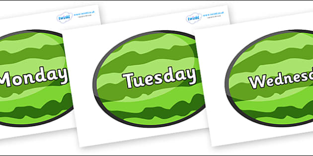 Days of the Week on Melons (Horizontal) - Days of the Week, Weeks poster, week, display, poster, frieze, Days, Day, Monday, Tuesday, Wednesday, Thursday, Friday, Saturday, Sunday