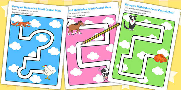 Pencil Control Path Worksheets to Support Teaching on Farmyard Hullabaloo - farm, path