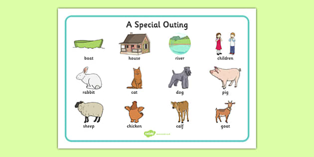 A Special Outing Word Mat - a special outing, my gumpy's outing, word mat, mr gumpy
