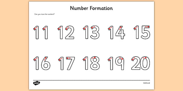 Number Formation Activity Sheet 11-20 - fine motor skills, numbers, worksheet, numeracy, numbers, number formation, 11-20