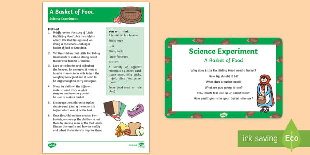 EYFS A Basket of Food Science Experiment and Prompt Card Pack - EYFS, Early Years, Little Red Riding Hood, science, investigation, materials UtW, Understanding the