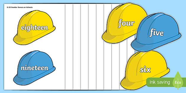 Number Names 0-20 on Hard Hats - number names, hard hats, 0-20, number, names, maths