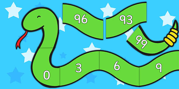 Counting in 3s Number Snake - Counting, Numberline, Number line, Counting on, Counting back, even numbers, foundation stage numeracy, snake, counting in 3s