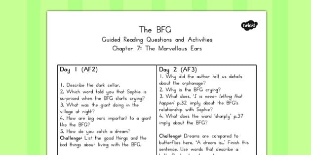Guided Reading Questions Chapter 7 to Support Teaching on The BFG - australia, bfg, guided reading