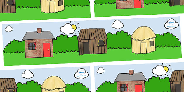 Small World Background (The Three Little Pigs) - Three little pigs, small world background, traditional tales, tale, fairy tale, pigs, wolf, straw house, wood house, brick house, huff and puff, chinny chin chin