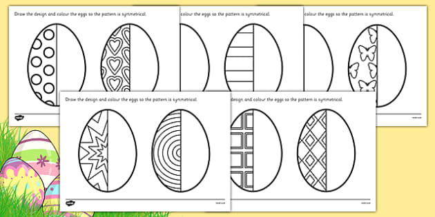 Easter Egg Symmetry Worksheets - symmetry, sheets, symmetry sheets, easter egg, sysmmetry activity, easter egg symmetry, easter symmetry, reflection, creating symmetry, numeracy, math, shapes, symmetry activity
