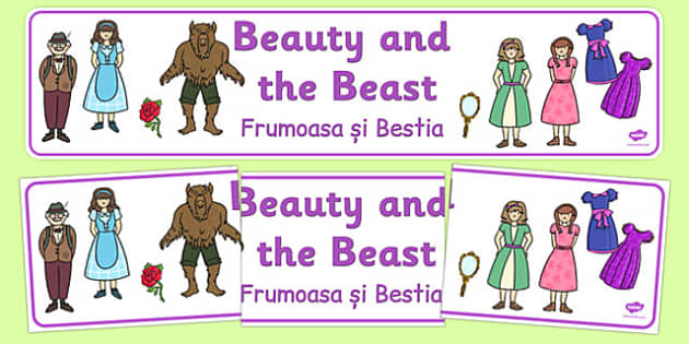 Beauty and the Beast Display Banner Romanian Translation - romanian, traditional tales, books
