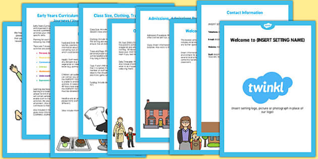 EYFS Setting Information Booklet for Home Visits - home visits