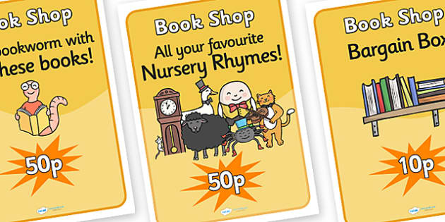 Book Shop Role Play Posters - book, shop, book shop, role, play, role play, posters, book shop poster, book shop role play, posters for book shop, books
