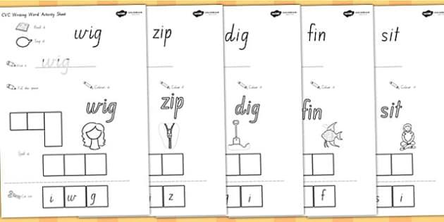CVC Writing Word Activity Sheets I - cvc words, cvc activities, worksheet