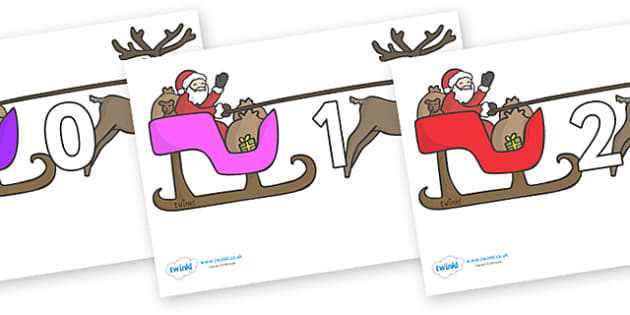 Numbers 0-50 on Sleighs - 0-50, foundation stage numeracy, Number recognition, Number flashcards, counting, number frieze, Display numbers, number posters