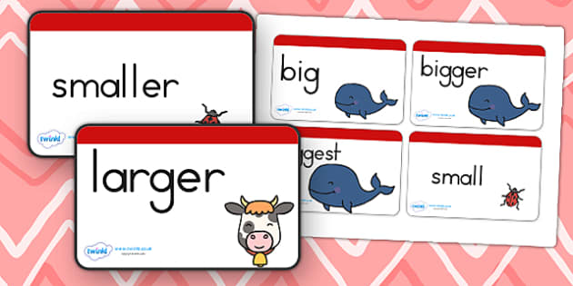 Size Word Cards Stick and Ball - size, shape, visual aid, keyword