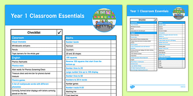 Year 1 Classroom Essentials Checklist