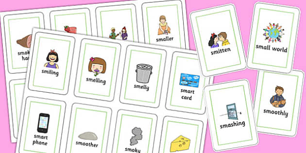 Two Syllable 'SM' Flash Cards - sm sound, syllable, flash cards, sound