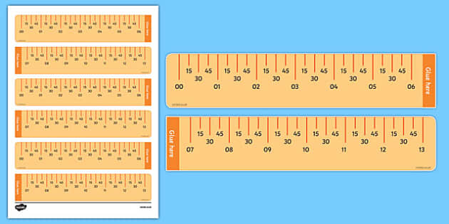 Elapsed Time Ruler Printable Math Tool