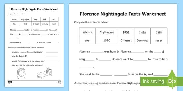 Florence Nightingale Fact Worksheet - florence nightingale, florence nightingale worksheet, florence nightingale complete the sentences worksheet