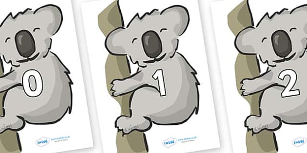 Numbers 0-50 on Koalas - 0-50, foundation stage numeracy, Number recognition, Number flashcards, counting, number frieze, Display numbers, number posters