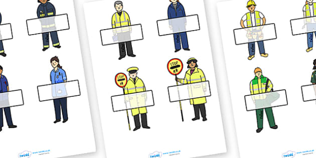 Editable Self Registration Labels (People Who Help Us) - Self registration, register, people who help us, editable, labels, registration, child name label, printable labels, Role Play, Doctor, Nurse, Teacher, Police, Fire fighter, Paramedic, Builder,