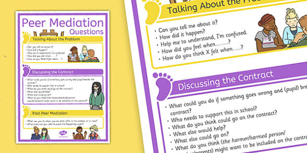 Peer Mediation Questions Poster - peer mediation, questions, poster, display