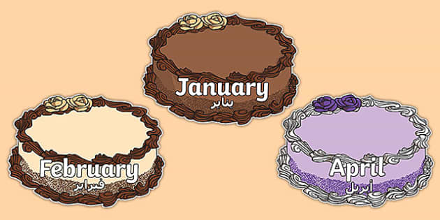 Months of the Year on Cakes Arabic Translation - arabic, months, year, cakes, display, dates