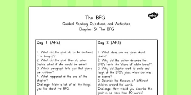 Guided Reading Questions Chapter 5 to Support Teaching on The BFG - australia, bfg, guided reading