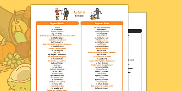 Autumn Themed Book List