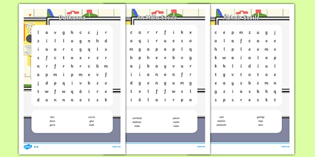 Irish Gaeilge Ar Scoil Word Search Pack Word Search-Irish