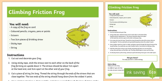 Climbing Friction Frog Science Experiment - friction, friction experiment, frog, science experiment, science experiments,Australia