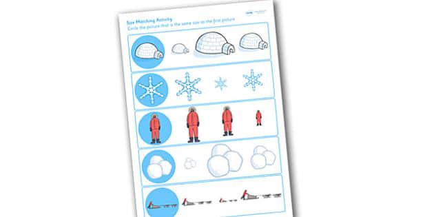 Winter Size Matching Worksheet - winter, size matching, matching