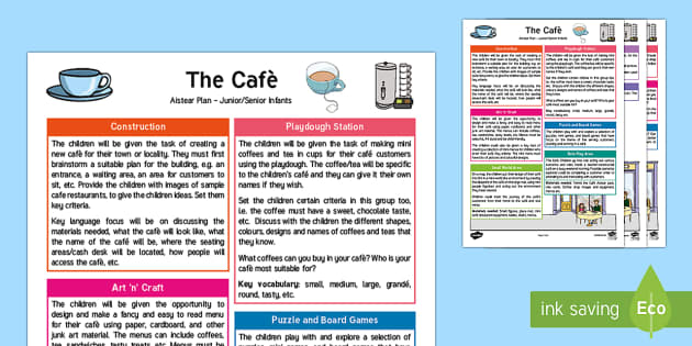 The Cafe/Coffee Shop Aistear Planning Template - Aistear, Infants, English Oral Language, School, The Garda Station, The Hairdressers, The Airport, T