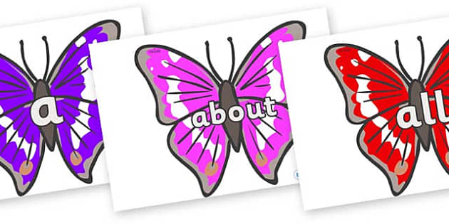 100 High Frequency Words on Emperor Butterflies - High frequency words, hfw, DfES Letters and Sounds, Letters and Sounds, display words