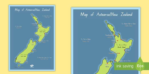 Aotearoa Map Display Posters  Te Reo Māori/ English  - New Zealand Geography, Te Reo Māori, aotearoa, new zealand map