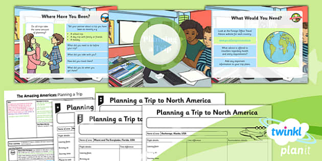 PlanIt - Geography Year 6 - The Amazing Americas Lesson 5: Planning a Trip Lesson Pack - planit, geography, North America, trip, tourist, planning