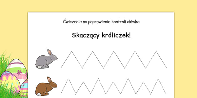 Arkusz Skaczący króliczek po polsku - koordynacja, pisanie