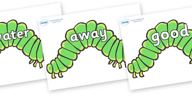 Next 200 Common Words on Hungry Caterpillars to Support Teaching on The Very Hungry Caterpillar - Next 200 Common Words on  - DfES Letters and Sounds, Letters and Sounds, Letters and sounds words, Common words, 200 common words