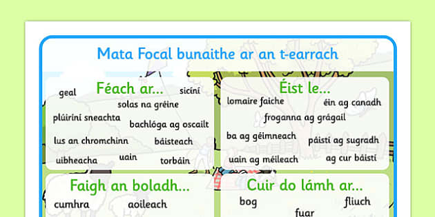 Spring Themed Senses Word Mat Gaeilge - Ireland, Irish, ROI, spring, seasons, senses, sensory, literacy, writing