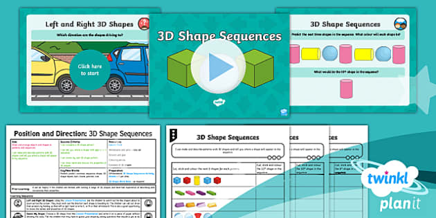 PlanIt Y2 Position and Direction Lesson Pack Pattern and Sequence (3) - Geometry, Pattern, predict, continue, sequence, shape, 3D shape repeat, turn, rotate, position, rule