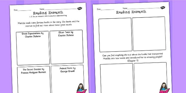 Reading Research Worksheet to Support Teaching on Matilda - stories, story books, read