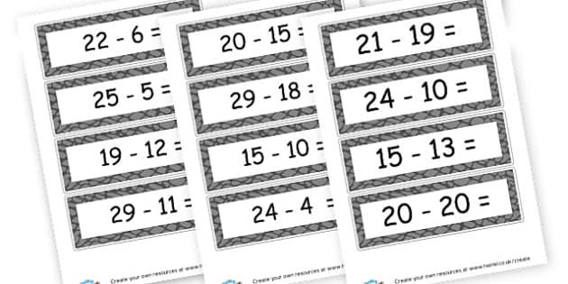 Subtraction to 30 Cards - Subtraction Primary Resources, minus, less, activities, calculate