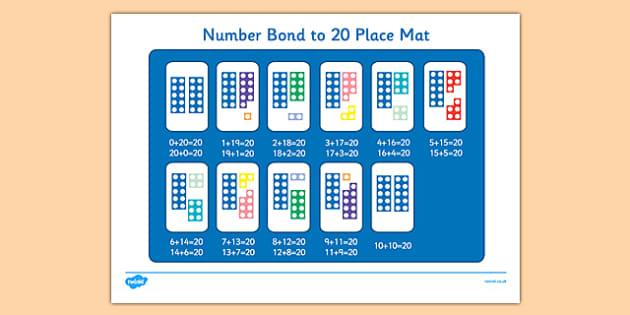 Number Bond to 20 Place Mat - number bond, 20, place mat, place, mat, number, bond, 0-20