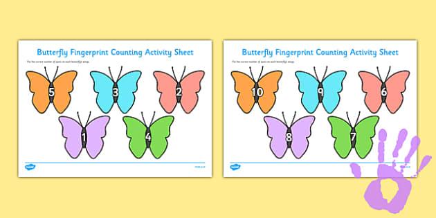 Butterfly Fingerprint Counting Activity Sheet Pack - EYFS activities, number, EAD, minibeasts, caterpillar, worksheet
