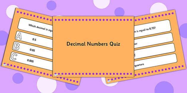 Decimal Numbers PowerPoint Quiz - decimals, numbers, powerpoint